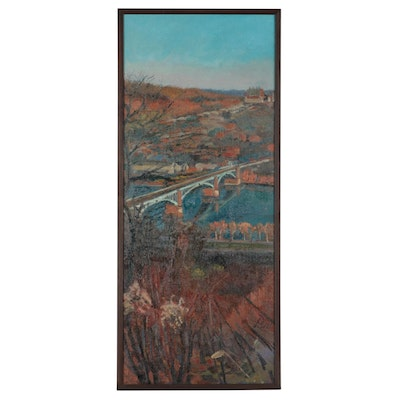 """William Pfahl Oil Painting """"View of Lawrenceville & Children's Hospital,"""" 2008"""