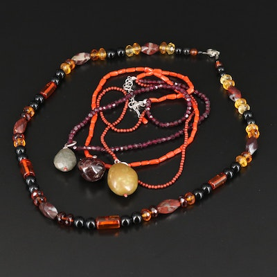 Necklaces Including Turquoise, Jasper and Coral with Sterling Findings