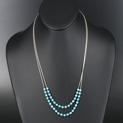 Carolyn Pollack Sterling Liquid Silver Double Strand Beaded Howlite Necklace