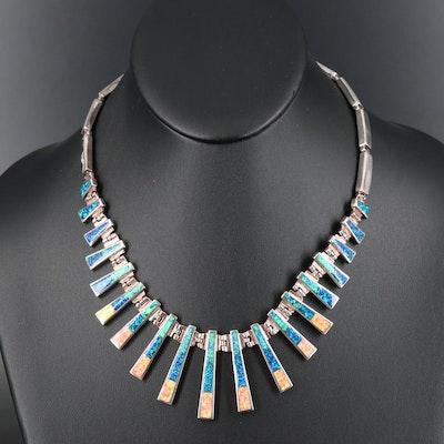 Southwestern Style Sterling Opal Inlay Graduated Fringe Necklace