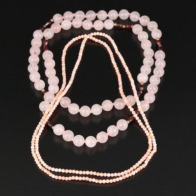 Beaded Endless Necklaces Including Rose Quartz, Garnet and Coral