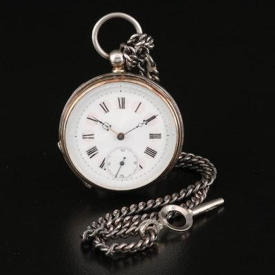 800 Silver Antique Swiss Key Wind & Set Pocket Watch