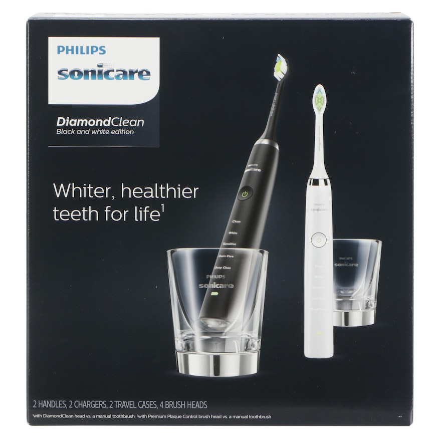 Philips Sonicare DiamondClean Black and White Dual Pack Electric Toothbrushes