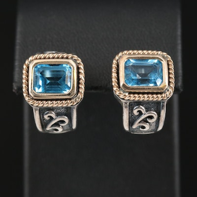 Sterling Topaz Earrings with 14K Accents