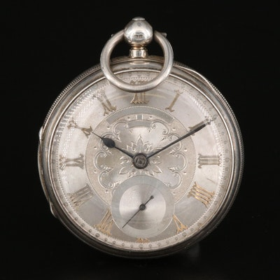 Sterling Silver Key Wind and Set Pocket Watch