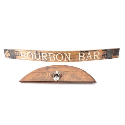 Decorative Wood Wall Hanging Bottle Opener and Bourbon Bar Sign