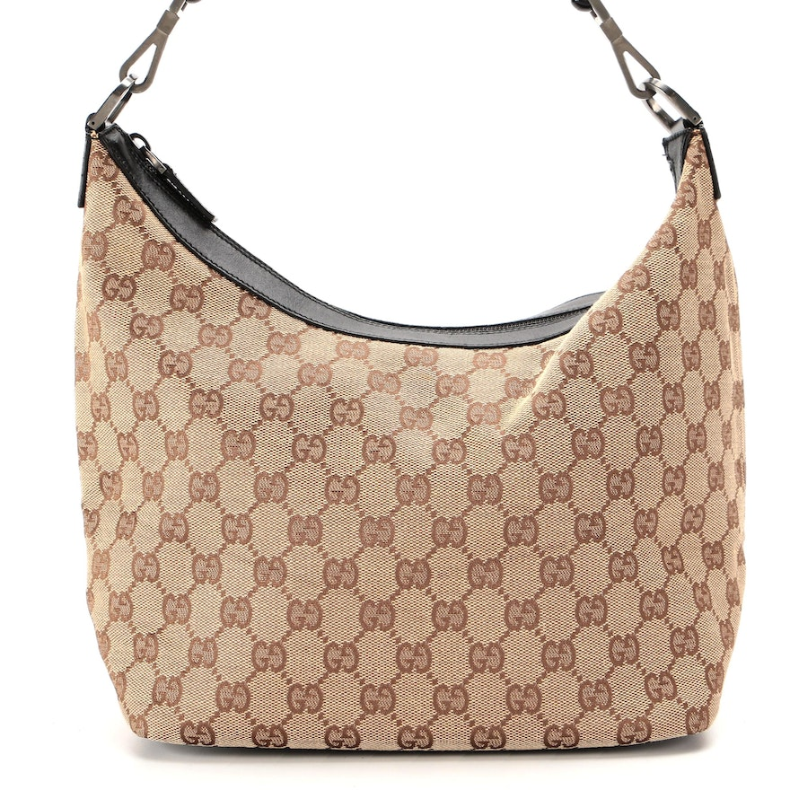 Gucci Bamboo GG Canvas and Black Leather Shoulder Bag