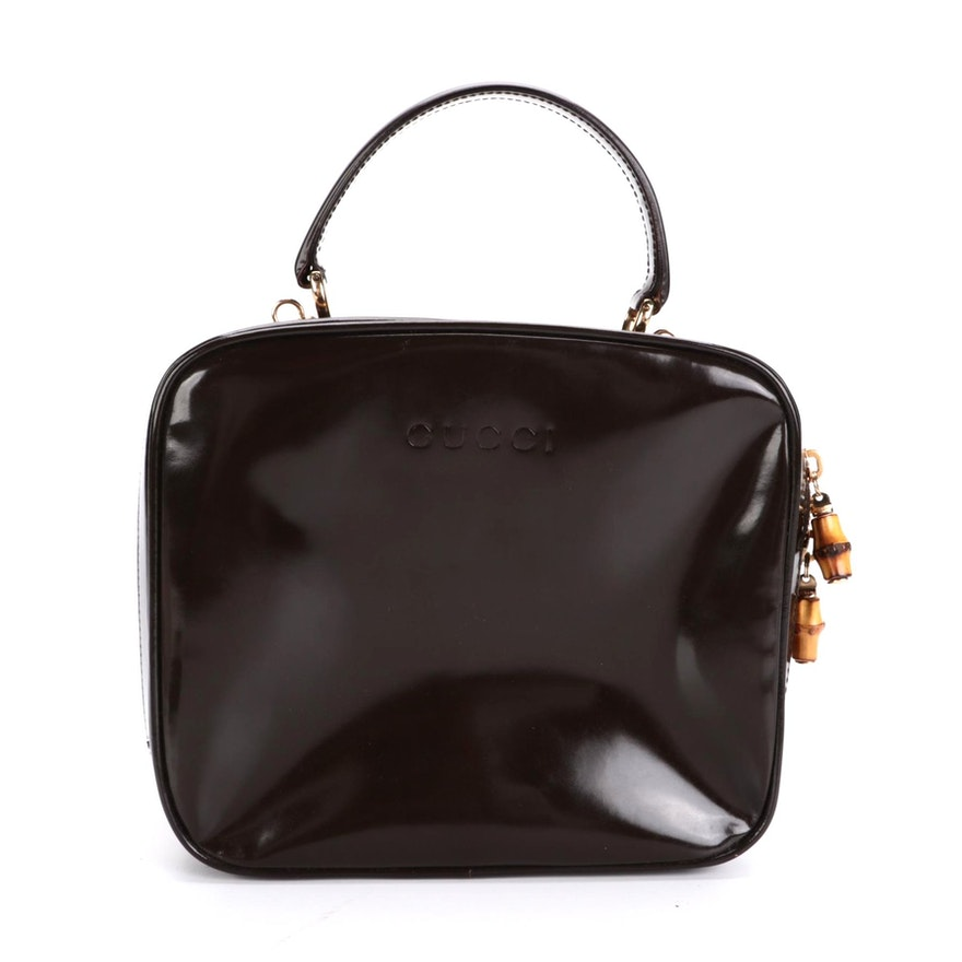 Gucci Top Handle Bag in Glazed Brown Leather with Bamboo Zip Pulls