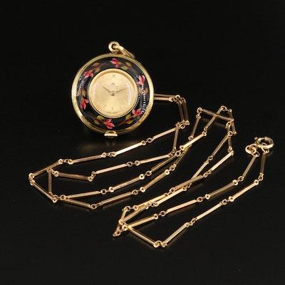 Vintage Bucherer Enamel and Gold Tone Pendant Watch