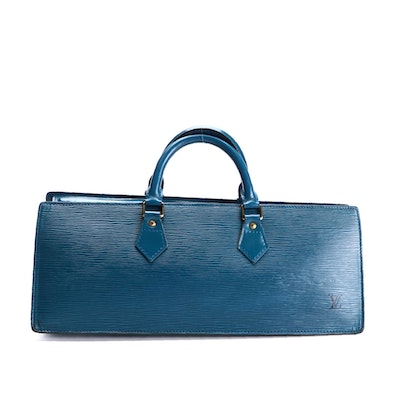Louis Vuitton Sac Triangle Bag in Toledo Blue Epi and Smooth Leather