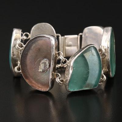 Sterling Freeform Sea Glass Bracelet