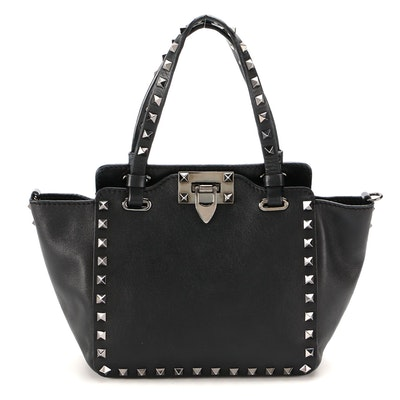 Valentino Rockstud Noir Leather Two-Way Bag