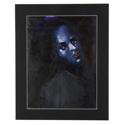 Samson Toba Oladosu Female Portrait Study Acrylic Painting, 2021