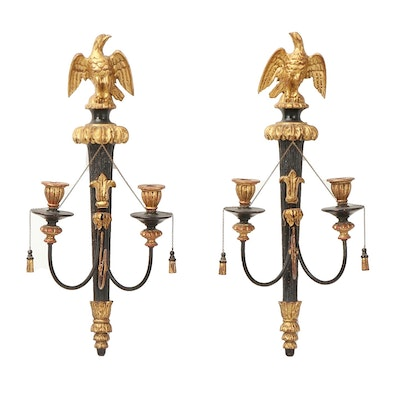 Federal Style Italian Painted Wood Candle Sconces