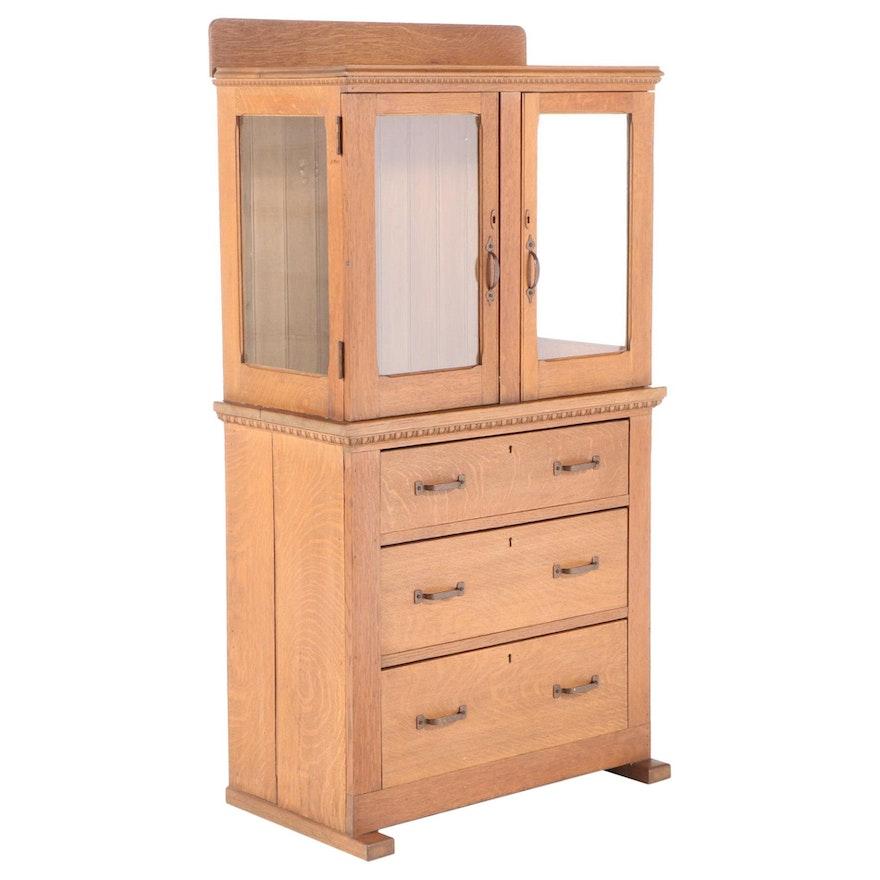 American Quartersawn Oak Three-Drawer Display Cabinet, circa 1900