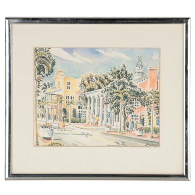 """Offset Lithograph After Paul Arsenault """"Third Street, South Naples"""""""