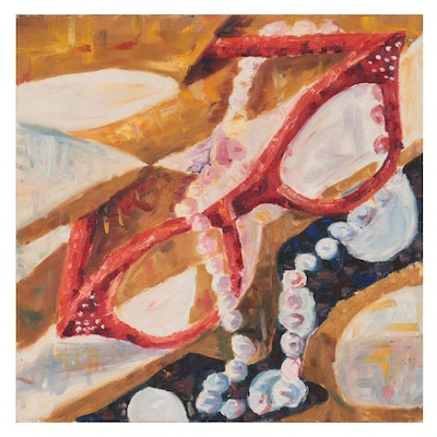 Still Life Oil Painting of Glasses and Pearls, Late 20th Century