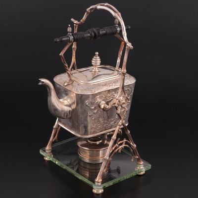 Silver Plate Kettle on Stand, Late 19th to Early 20th Century