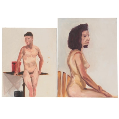 Figurative Oil Paintings of Seated and Standing Nudes, Late 20th Century