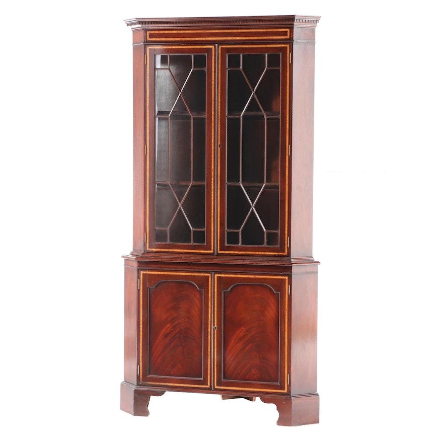 George III Style Flame Mahogany and Satinwood-Crossbanded Corner Cabinet