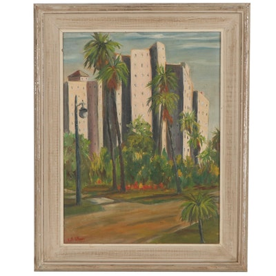 Oil Painting of City with Palm Trees, Late 20th Century