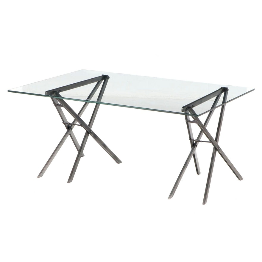 Industrial Style Patinated-Metal and Glass Top Adjustable-Height Coffee Table