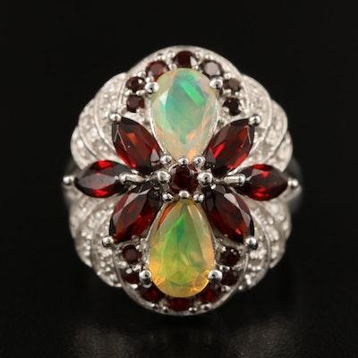 Sterling Silver Opal, Garnet and Diamond Ring
