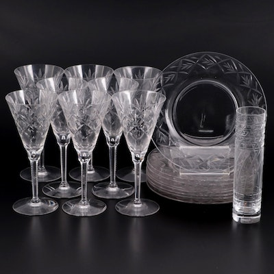 Baccarat Crystal Column Vase with Other Glass Plates and Stemware