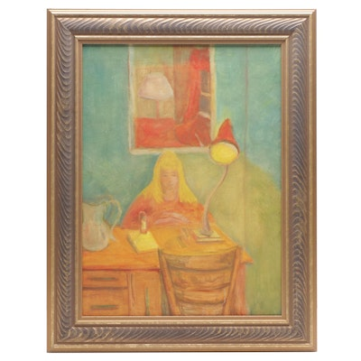 """Jewell Haley Figural Oil Painting """"Louise Reading,"""" Mid-20th Century"""