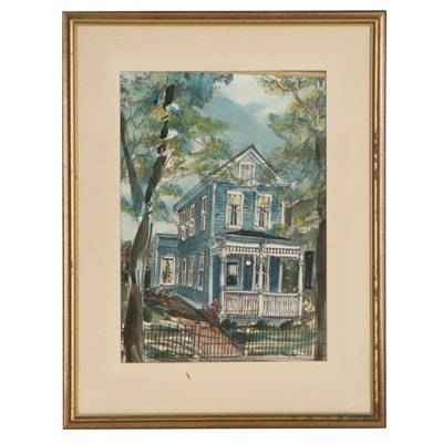 Watercolor Painting of House, Mid-Late 20th Century