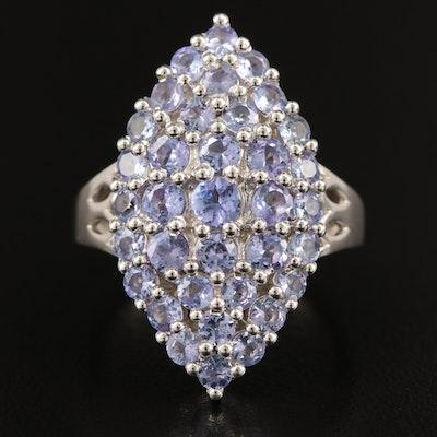 Sterling Silver Tanzanite Navette Ring
