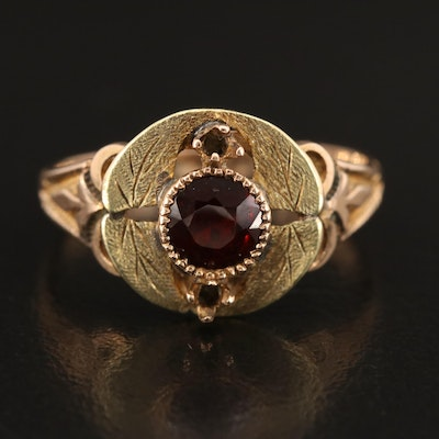 Victorian 10K Foliate Set Garnet Ring with Green Gold Accents