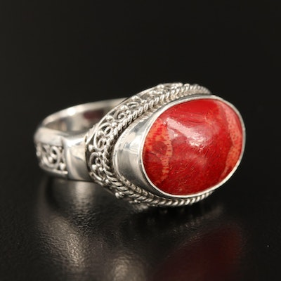 Sarda Sterling Silver and Coral Ring