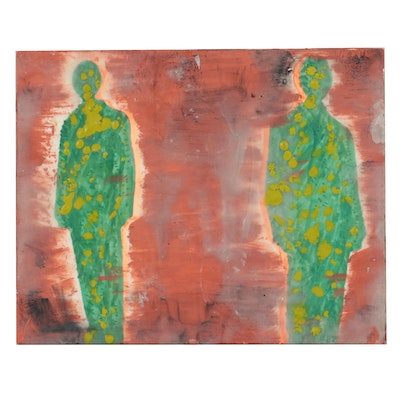 Mixed Media Painting of Two Figures, Late 20th Century