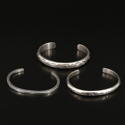 Sterling Silver Stampwork Cuffs Featuring Nora Tahe Navajo Diné