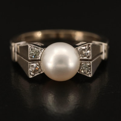 1940s Pearl and Diamond Bow Ring
