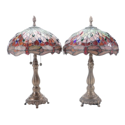 Pair of Dale Tiffany Metal and Stained Glass Dragonfly Table Lamps