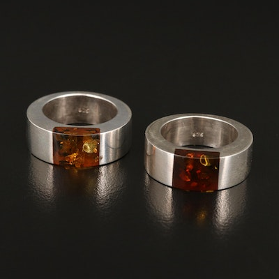 Contemporary Sterling Silver Amber Rings