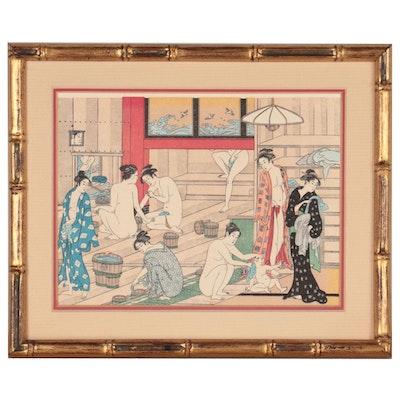 "Woodblock After Torii Kiyonaga ""Bathhouse Women,"" Mid-Late 20th Century"