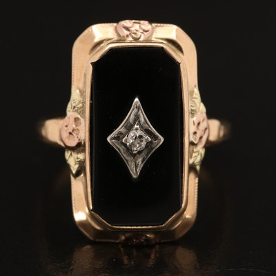 1930s 10K and 14K Diamond and Black Onyx Ring with Rose and Green Gold Accents
