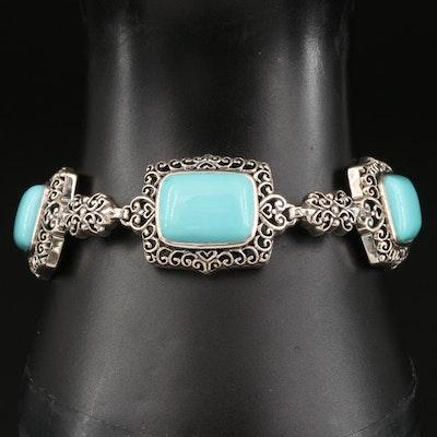Sterling Silver Faux Turquoise Bracelet