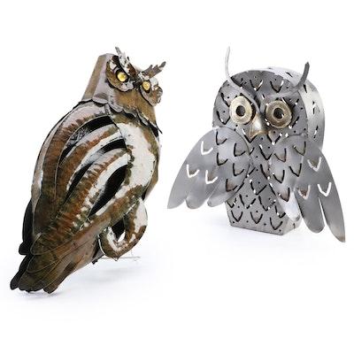 Metal Owl Lantern and Owl Sculpture