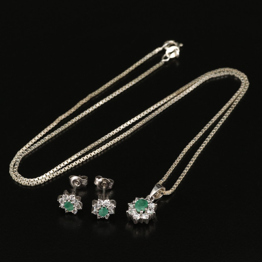Italian Sterling Emerald and Cubic Zirconia Halo Pendant Necklace and Earrings