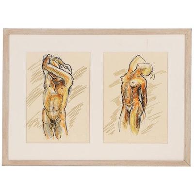 Figurative Mixed Media Drawings of Nude Studies, 1990