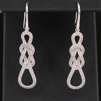 Sterling Silver Cubic Zirconia Knot Drop Earrings