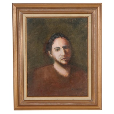 "Chuck Harris Portrait Oil Painting ""Mark,"" Late 20th Century"