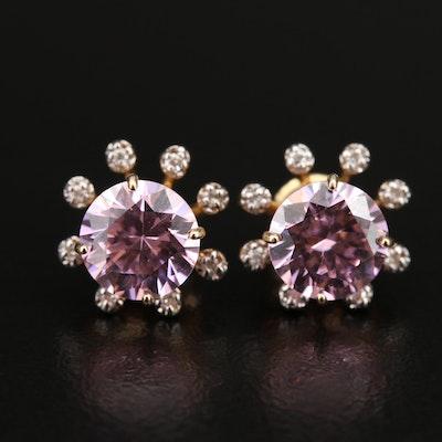 14K Cubic Zirconia Stud Earrings with Diamond Jackets