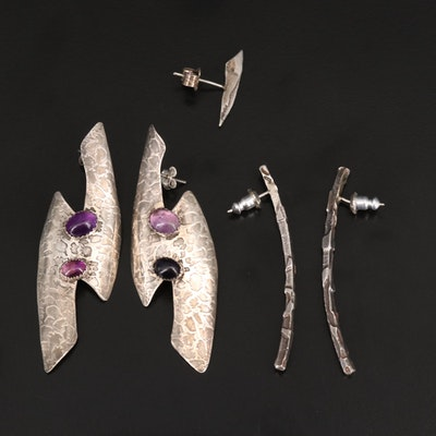 Sterling Earrings Including Amethyst and Single 800 Silver Earring