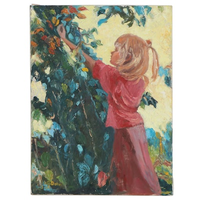 """Oil Painting After Scott Burdick """"The Apple Orchard,"""" Late 20th Century"""
