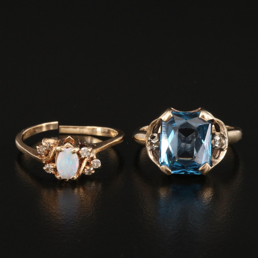 14K Opal and Diamond Ring with 10K Spinel Ring